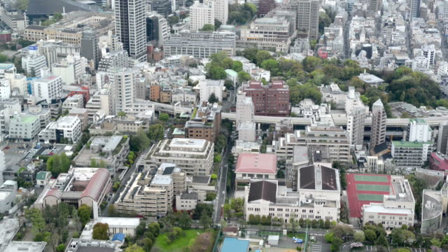High angle view over city buildings in Central Tokyo video
