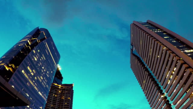 High Buildings at horizon twilight video