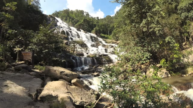 High Cliff Waterfalls in Tropical Rainforests video