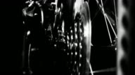 High contrast Bicycle gears and wheel spin video