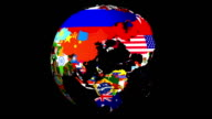 High Definition Loopable Spinning Globe with Countries Flags video
