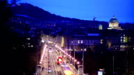 High elevated view of Bern's transport at dusk video
