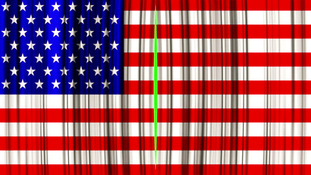 high quality animation perfectly curtain with united states of america, usa flag opening movement background, with chroma key video