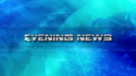 High Res bumper animation of Evening News Sting. Lens Flare Reveals Text, with a Light globe rotating - Blue video