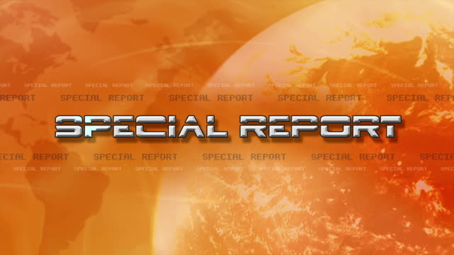 High Res bumper animation of Special Report Sting. Text Flying in, with a Light globe rotating - Orange video