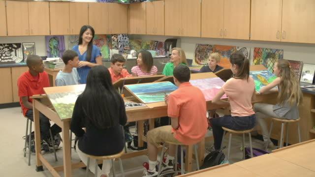 High School Art Class With Teacher video