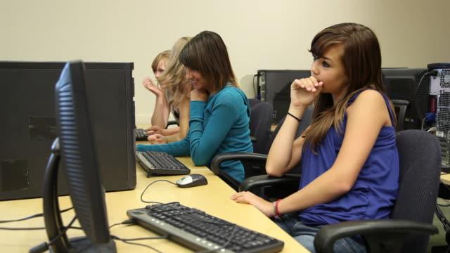 High School  girls in computer lab video