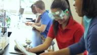 Les élèves lycée mener des expériences scientifiques de classe - Vidéo