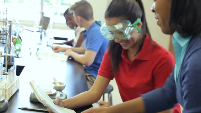 High School Pupils Carrying Out Experiment In Science Class video