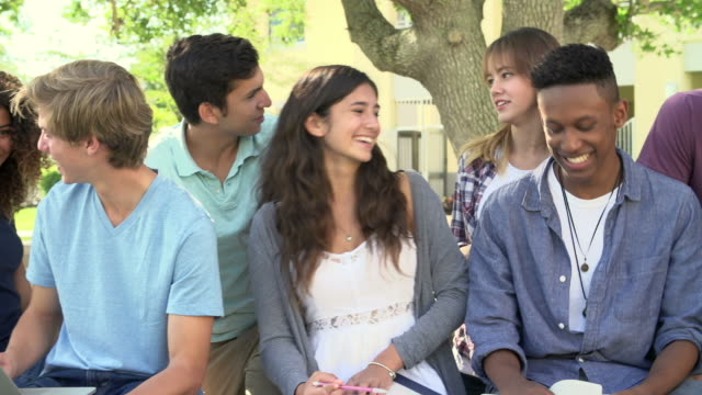 High School Students Collaborating On Project In Playground video