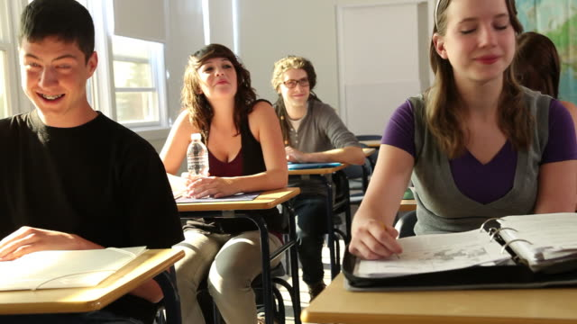 High School students raise hands video
