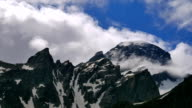 High Snowy Mountains with Clouds Timelapse. Kavkaz region video