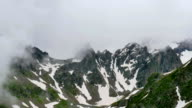 High Snowy Mountains with Clouds Timelapse on Overcast Days. Kavkaz region video
