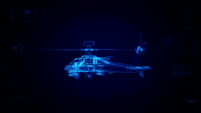 High tech military helicopter background video