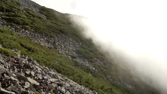 high top of the mountain with fast moving clouds. sunset after the rain. smooth movement video