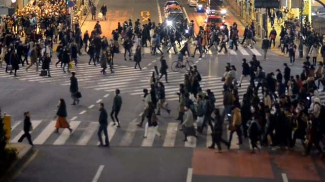 high view : Pedestrians travel at Shibuya video