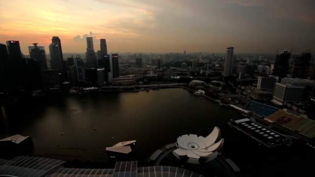 High view sunset of cityscape pan left video