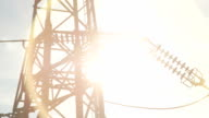 CLOSE UP: High voltage metal transmission tower and power lines on sunny day video