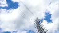 High Voltage Poles under blue Sky video