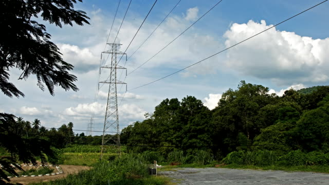 High voltage power pylons. Time Lapse video