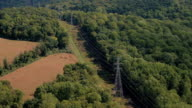 AERIAL: High voltage powerlines and electricity pylons running through forest video
