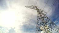 High voltage tower with blue sky and cloudy video