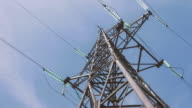 High voltage tower with power cables. Energy industry. Electricity of the net. Substation distribution and transportation of electricity by wire video