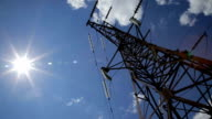 High voltage tower with sky background. High voltage power line. video