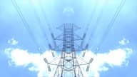 High voltage tower with sky background video
