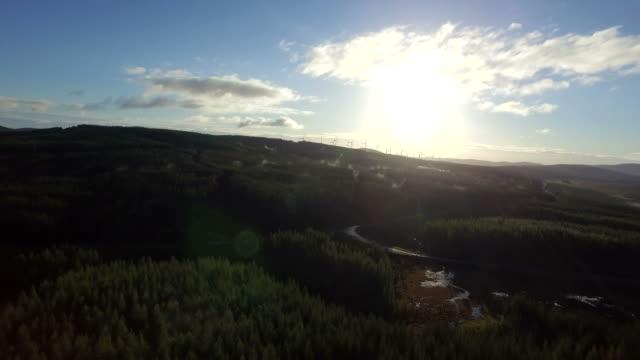 Highland Sunrise Windfarm Aerial video