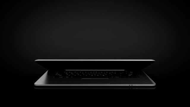 Highly detailed aluminum laptop spinning. THIN. Technology animation. Black background. video