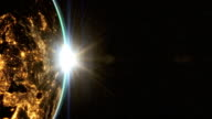 Highly detailed.Planet earth Europe zone with night time and sunrise. Epic sunrise world skyline. video
