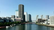 High-rise buildings of Harumi and river(Japan) video
