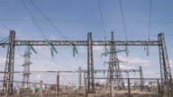High-voltage electricity distribution substation. Energy industry. Wires on supports. Electricity for settlements. power lines video