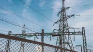 High-voltage power pylons behind the substation fence. Fence of the electrical substation. Energy industry. Renewable clean energy. Transportation of electricity to cities video