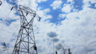 . High-voltage support. clouds in the sky video