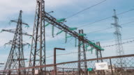 High-voltage wires, power station. Energy industry. Production and transportation of electricity video