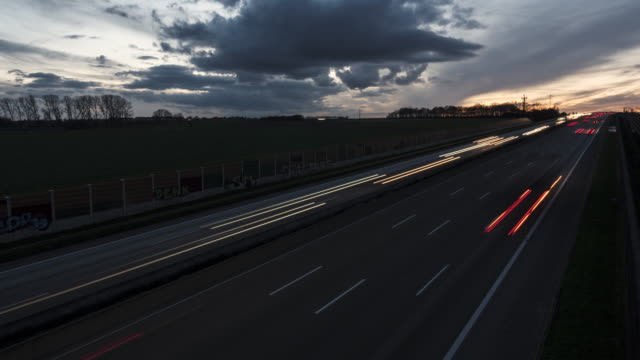Highway and traffic at dusk video