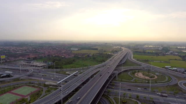 Highway and Traffic in Bangkok at Dusk, Aerial view video