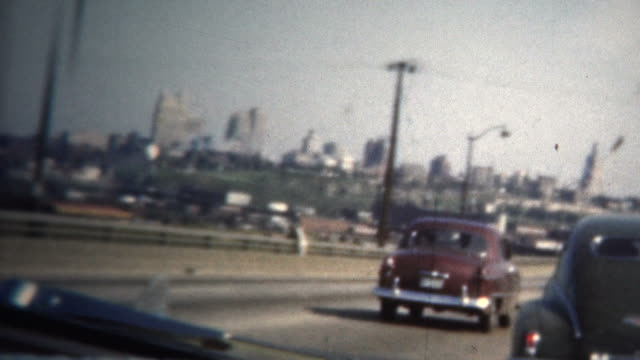 (8mm Vintage) 1950 Highway Driving Into St. Louis. USA video