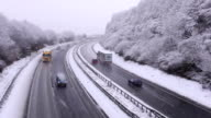 Highway during a snowfall in winter video