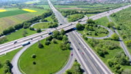 Highway intersection - Aerial view video