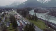 Highway Skykomish River Aerial View video