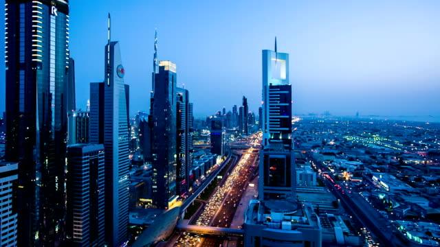 HD: Highway traffic in Dubai at dusk video
