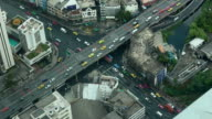 highway traffic motion in the day time. The View from the top, Bangkok Thailand. City scape. video