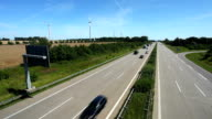 Highway traffic with wind energy in Germany video