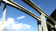 Highway viaduct timelapse with zoom in camera movement video