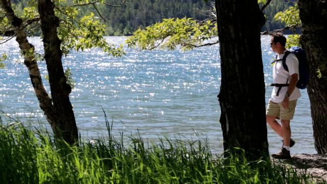 Hiker Enjoys Picturesque Lake video