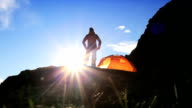 Hiker in Dawn Silhouette on Hiking Expedition video