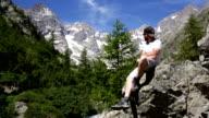 Hiker in mountain video